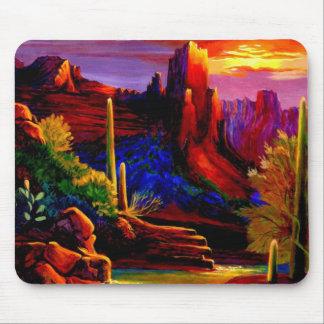 Coucher du soleil à la roche rouge Mousepads Tapis De Souris