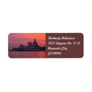 Coucher du soleil à Venise Étiquettes D'adresse Retour