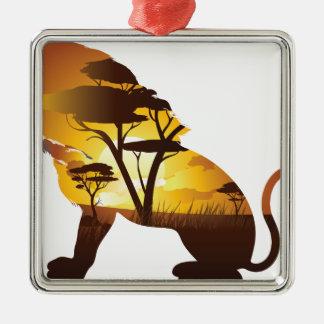Coucher du soleil africain avec le lion ornement carré argenté