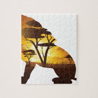 Coucher du soleil africain avec le lion puzzle