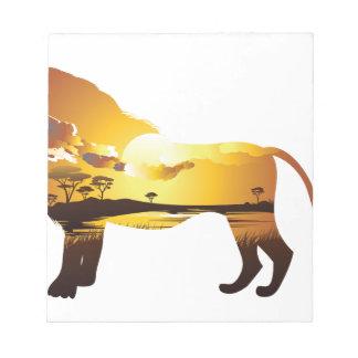 Coucher du soleil africain avec Lion2 Bloc-note