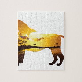 Coucher du soleil africain avec Lion2 Puzzle