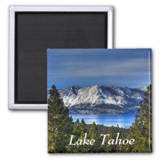 Coucher du soleil au-dessus d'aimant du lac Tahoe  Magnet Carré
