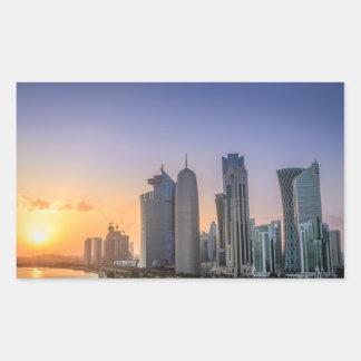 Coucher du soleil au-dessus de la ville de Doha, Sticker Rectangulaire