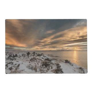 Coucher du soleil au-dessus de lac Myvatn, Islande Set De Table Stratifié