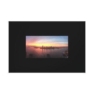 Coucher du soleil au-dessus de ville de Jersery Toile
