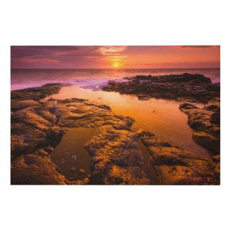 Coucher du soleil au-dessus des piscines de marée, impression sur bois