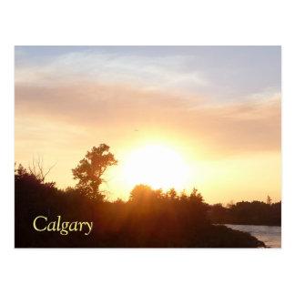Coucher du soleil au-dessus d'horizon de Calgary Carte Postale