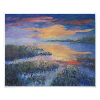 Coucher du soleil au-dessus du marais impression photo