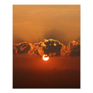 Coucher du soleil avec des nuages prospectus 11,4 cm x 14,2 cm