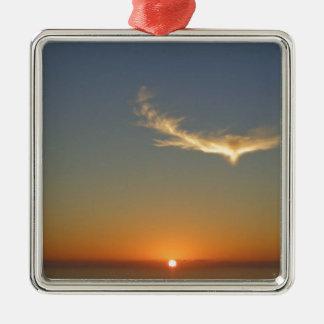 coucher du soleil d'ange ornement carré argenté