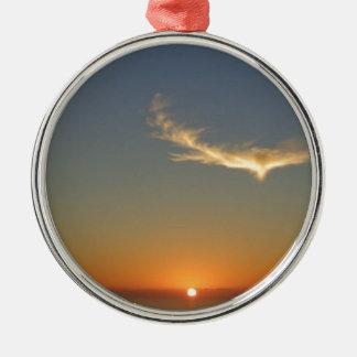 coucher du soleil d'ange ornement rond argenté