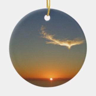 coucher du soleil d'ange ornement rond en céramique
