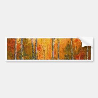 Coucher du soleil dans la forêt d'automne autocollant de voiture