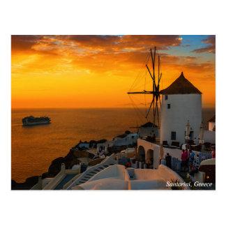 Coucher du soleil dans Santorini, Grèce - carte