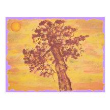 coucher du soleil d'arbre de genévrier cartes postales