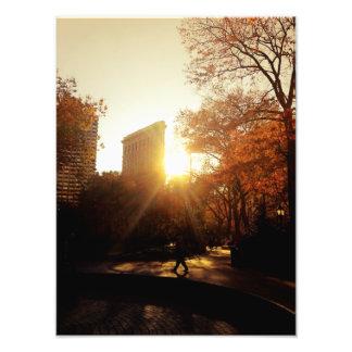 Coucher du soleil de bâtiment de Flatiron à New Impression Photographique