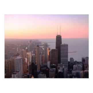 Coucher du soleil de Chicago Cartes Postales