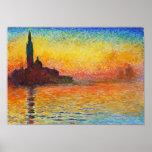 Coucher du soleil de Claude Monet à Venise Posters