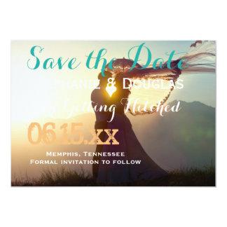 Coucher du soleil de couples de mariage carton d'invitation  12,7 cm x 17,78 cm