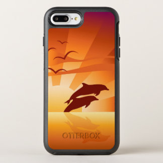 Coucher du soleil de dauphin coque otterbox symmetry pour iPhone 7 plus