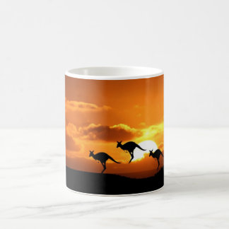 Coucher du soleil de kangourou mug