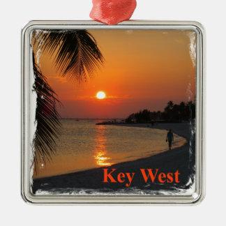 Coucher du soleil de Key West Ornement Carré Argenté