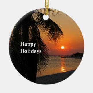 Coucher du soleil de Key West Ornement Rond En Céramique