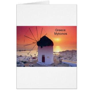 Coucher du soleil de la Grèce Mykonos (St.K) Carte De Vœux
