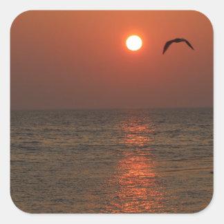 Coucher du soleil de la Sardaigne Stickers Carrés