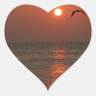 Coucher du soleil de la Sardaigne Sticker Cœur