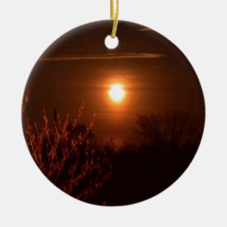 Coucher du soleil de la Virginie Occidentale Ornement Rond En Céramique