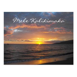 Coucher du soleil de Maui Hawaï, Mele Kalikimaka, Carte Postale