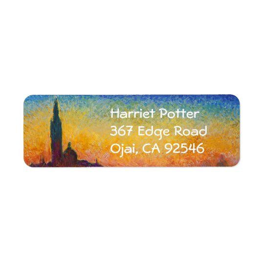 Coucher du soleil de Monet en beaux-arts de Venise Étiquette D'adresse Retour