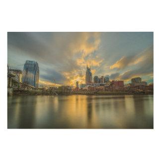Coucher du soleil de Nashville Riverfron Impression Sur Bois