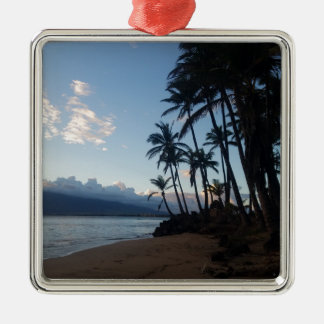 Coucher du soleil de palmier ornement carré argenté