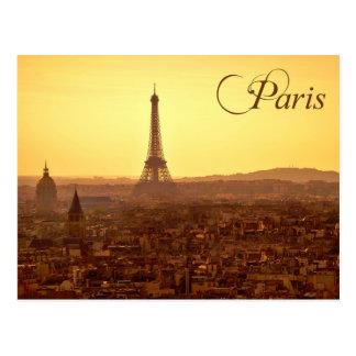Coucher du soleil de Paris avec Tour Eiffel Carte Postale