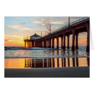 Coucher du soleil de pilier de Manhattan Beach Carte De Vœux