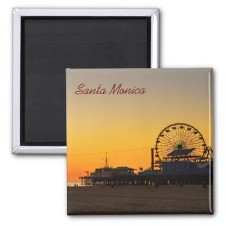 Coucher du soleil de pilier de Santa Monica Magnet Carré