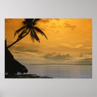 Coucher du soleil de plage affiches