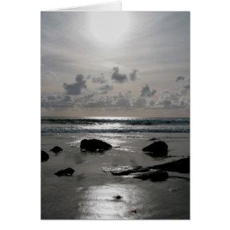 Coucher du soleil de plage carte de vœux