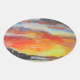 Coucher du soleil de plage de Bondi Sticker Ovale