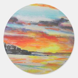 Coucher du soleil de plage de Bondi Sticker Rond