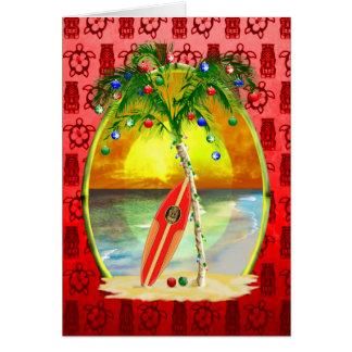Coucher du soleil de plage de Noël Carte De Vœux