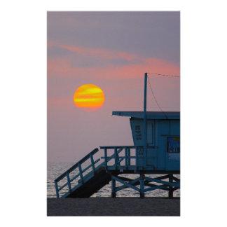 Coucher du soleil de plage de Venise Papier À Lettre Customisable