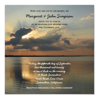 Coucher du soleil de renouvellement de voeu de carton d'invitation  13,33 cm