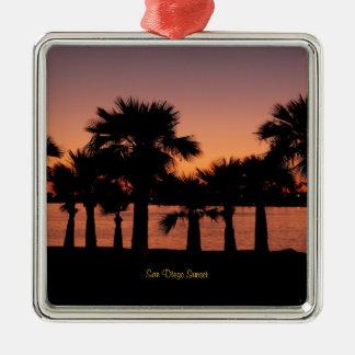 Coucher du soleil de San Diego - palmiers Ornement Carré Argenté