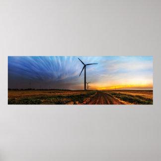 Coucher du soleil de turbine de vent posters