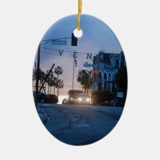coucher du soleil de Venise Ornement Ovale En Céramique