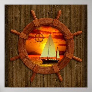 Coucher du soleil de voilier posters